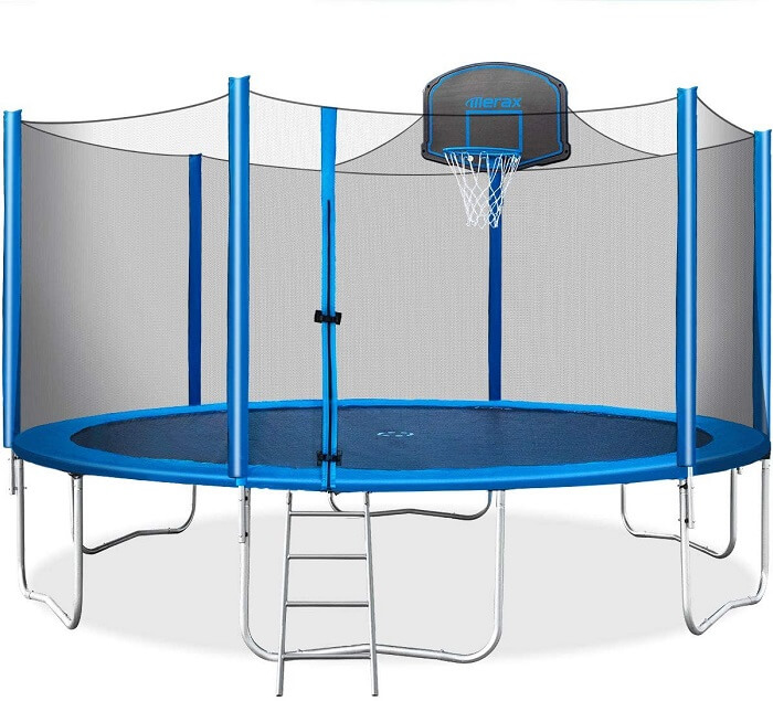 5. Merax 15 FT Trampoline with Safety Enclosure Net Basketball Hoop and Ladder 1 1