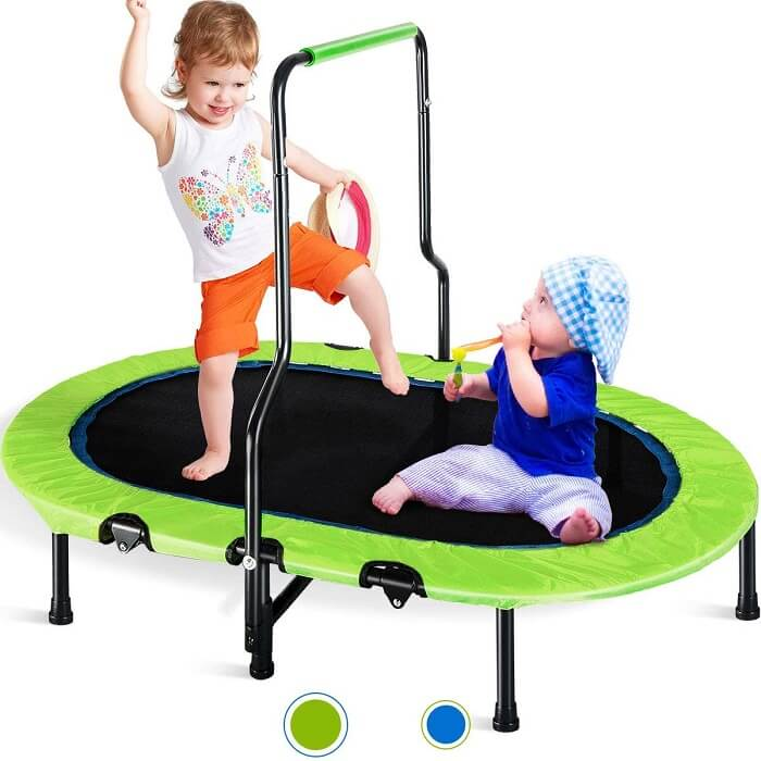 9. Merax Kids Trampoline with Handrail and Safety Cover