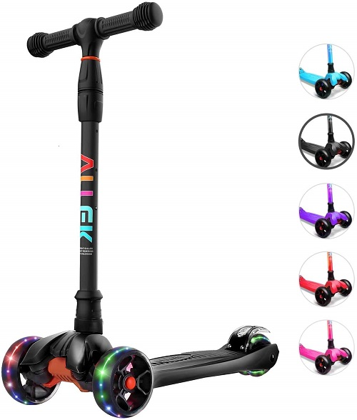 10.Allek Kick Scooter B02 Lean N Glide Scooter with Extra Wide PU Light Up Wheels and 4 Adjustable Heights for Children from 3 12yrs